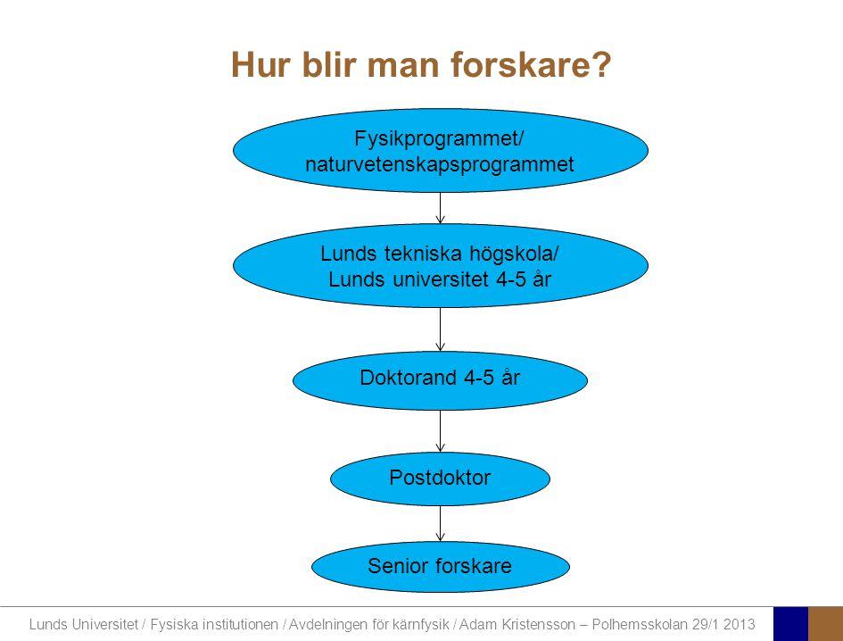 Lunds Universitet / Fysiska institutionen / Avdelningen för kärnfysik / Adam Kristensson – Polhemsskolan 29/1 2013 Hur blir man forskare? Fysikprogram