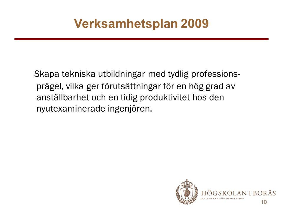 10 Verksamhetsplan 2009 Skapa tekniska utbildningar med tydlig professions- prägel, vilka ger förutsättningar för en hög grad av anställbarhet och en tidig produktivitet hos den nyutexaminerade ingenjören.