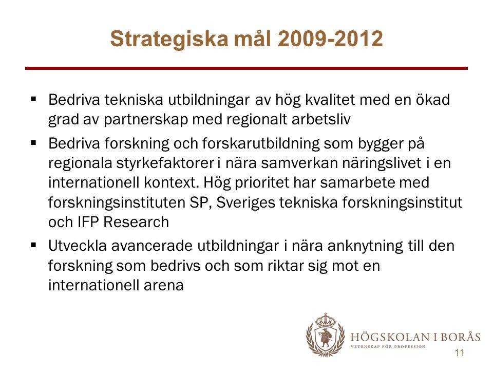 11  Bedriva tekniska utbildningar av hög kvalitet med en ökad grad av partnerskap med regionalt arbetsliv  Bedriva forskning och forskarutbildning som bygger på regionala styrkefaktorer i nära samverkan näringslivet i en internationell kontext.