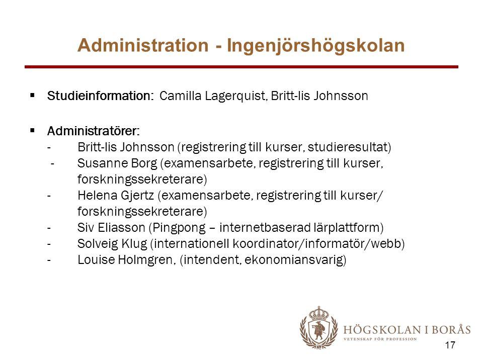 Administration - Ingenjörshögskolan  Studieinformation: Camilla Lagerquist, Britt-lis Johnsson  Administratörer: - Britt-lis Johnsson (registrering till kurser, studieresultat) - Susanne Borg (examensarbete, registrering till kurser, forskningssekreterare) - Helena Gjertz (examensarbete, registrering till kurser/ forskningssekreterare) - Siv Eliasson (Pingpong – internetbaserad lärplattform) - Solveig Klug (internationell koordinator/informatör/webb) - Louise Holmgren, (intendent, ekonomiansvarig) 17