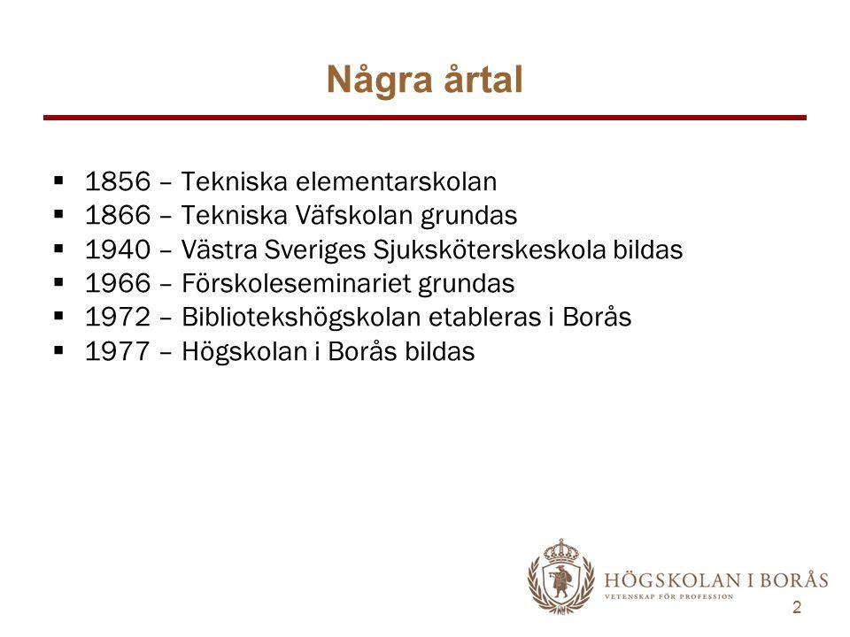 2 Några årtal  1856 – Tekniska elementarskolan  1866 – Tekniska Väfskolan grundas  1940 – Västra Sveriges Sjuksköterskeskola bildas  1966 – Förskoleseminariet grundas  1972 – Bibliotekshögskolan etableras i Borås  1977 – Högskolan i Borås bildas