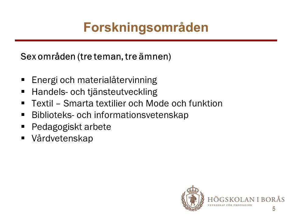 5 Forskningsområden Sex områden (tre teman, tre ämnen)  Energi och materialåtervinning  Handels- och tjänsteutveckling  Textil – Smarta textilier o