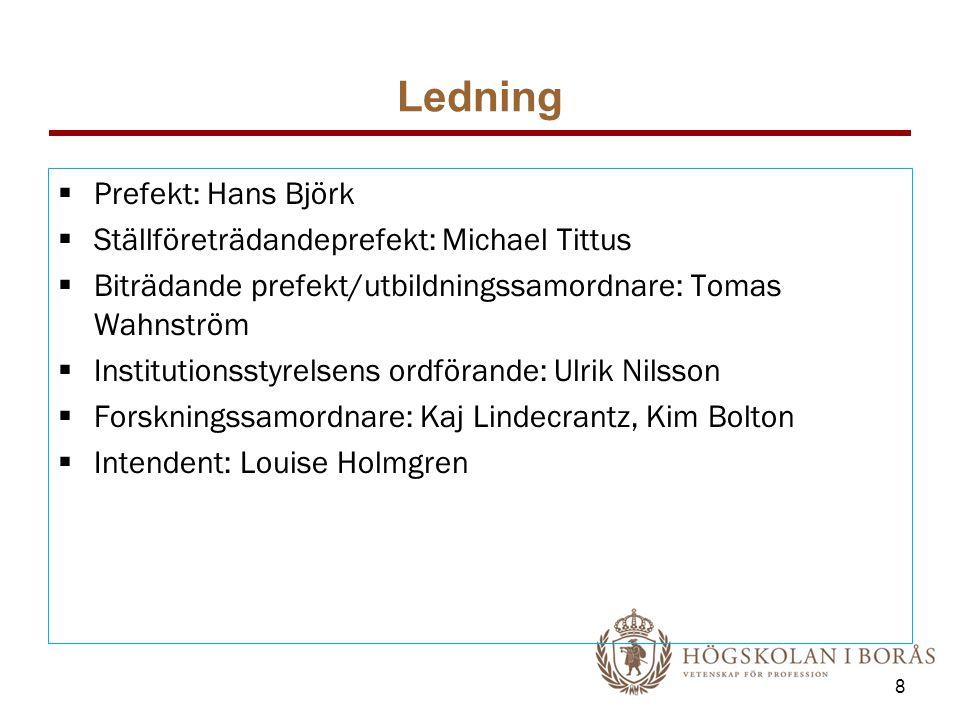 Ledning  Prefekt: Hans Björk  Ställföreträdandeprefekt: Michael Tittus  Biträdande prefekt/utbildningssamordnare: Tomas Wahnström  Institutionssty