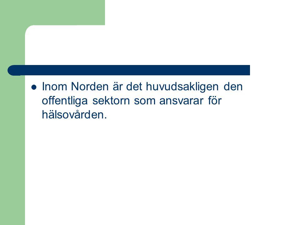 Inom Norden är det huvudsakligen den offentliga sektorn som ansvarar för hälsovården.