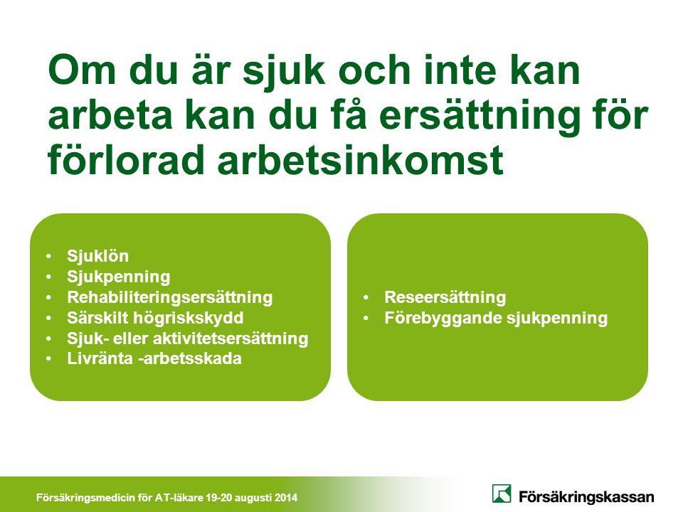 Försäkringsmedicin för AT-läkare 19-20 augusti 2014 Rehabiliteringskedjan Sjukpenning betalas ut om man inte kan klara de vanliga arbets- uppgifterna.
