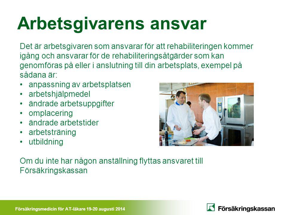 Försäkringsmedicin för AT-läkare 19-20 augusti 2014 Arbetsgivarens ansvar Det är arbetsgivaren som ansvarar för att rehabiliteringen kommer igång och
