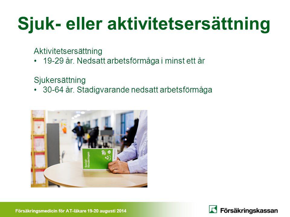 Försäkringsmedicin för AT-läkare 19-20 augusti 2014 Sjuk- eller aktivitetsersättning Aktivitetsersättning 19-29 år. Nedsatt arbetsförmåga i minst ett
