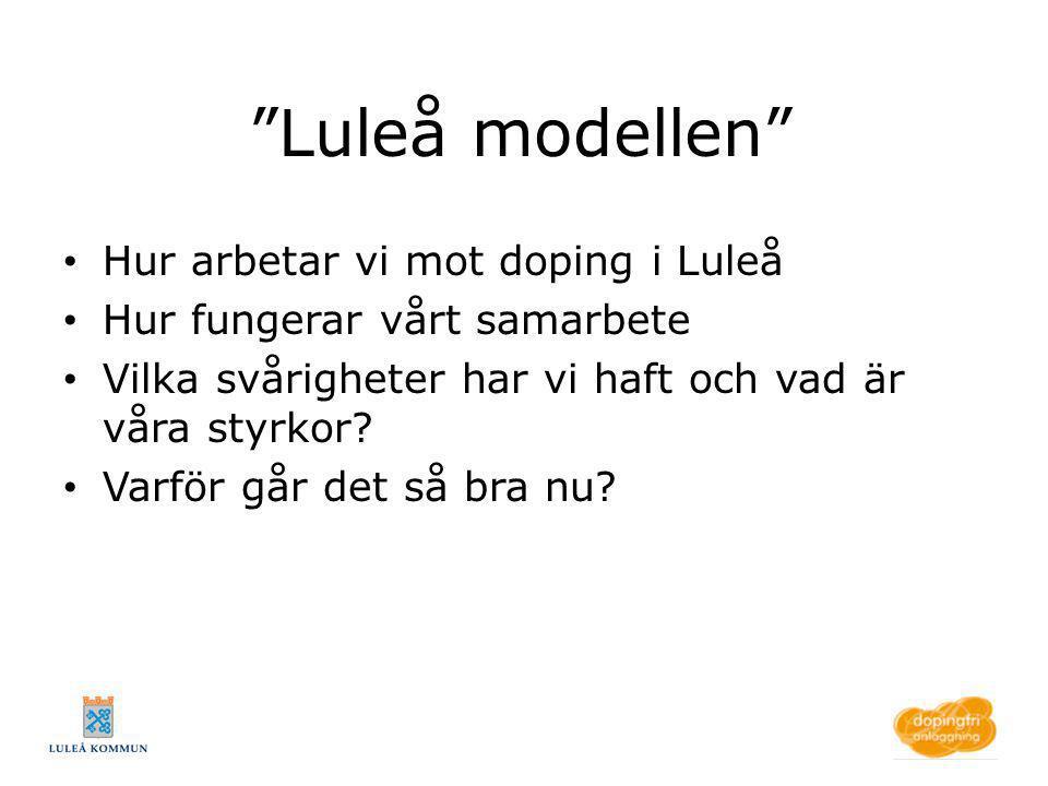 """""""Luleå modellen"""" Hur arbetar vi mot doping i Luleå Hur fungerar vårt samarbete Vilka svårigheter har vi haft och vad är våra styrkor? Varför går det s"""
