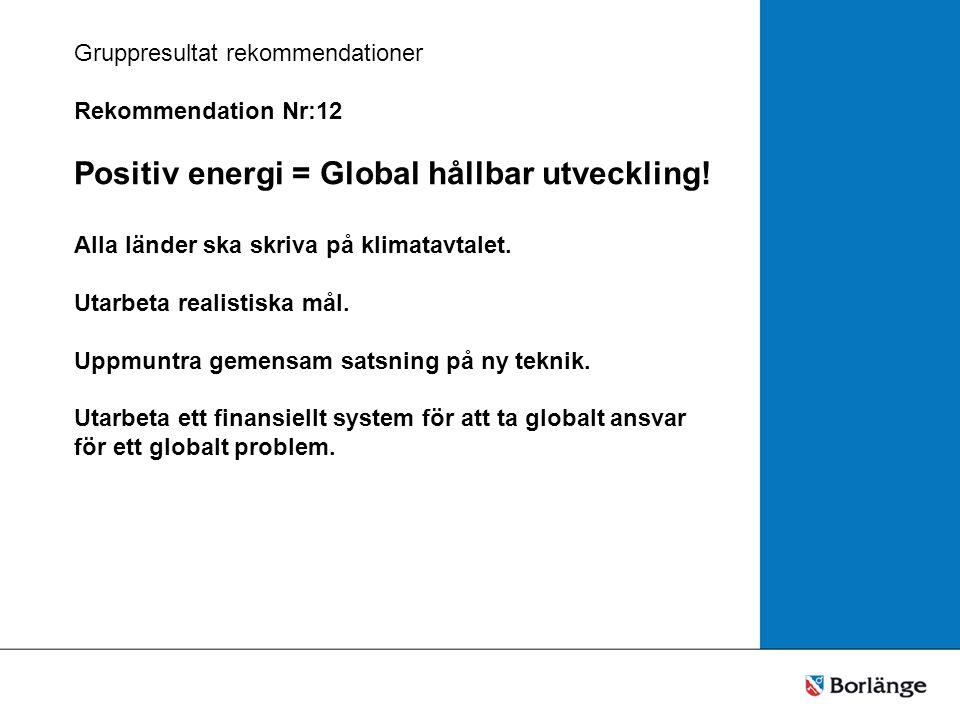 Gruppresultat rekommendationer Rekommendation Nr:12 Positiv energi = Global hållbar utveckling.
