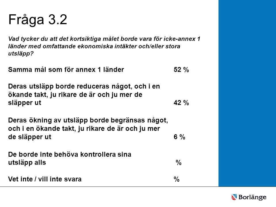 Fråga 3.3 Vad tycker du att det kortsiktiga målet borde vara för utvecklingsländer med lägre inkomstnivåer.