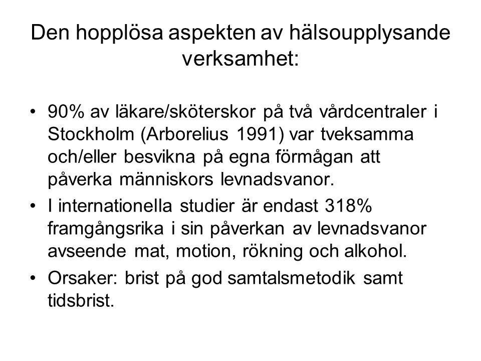 Den hopplösa aspekten av hälsoupplysande verksamhet: 90% av läkare/sköterskor på två vårdcentraler i Stockholm (Arborelius 1991) var tveksamma och/eller besvikna på egna förmågan att påverka människors levnadsvanor.