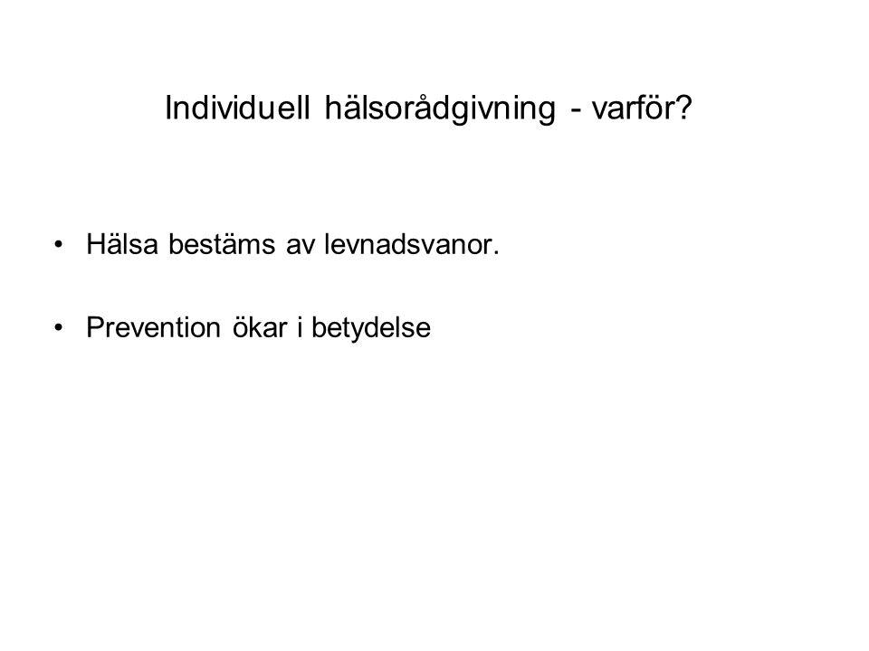 Individuell hälsorådgivning - varför? Hälsa bestäms av levnadsvanor. Prevention ökar i betydelse