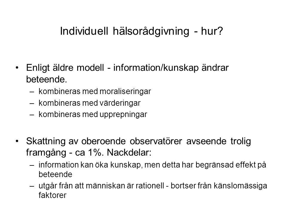 Individuell hälsorådgivning - hur.Enligt äldre modell - information/kunskap ändrar beteende.