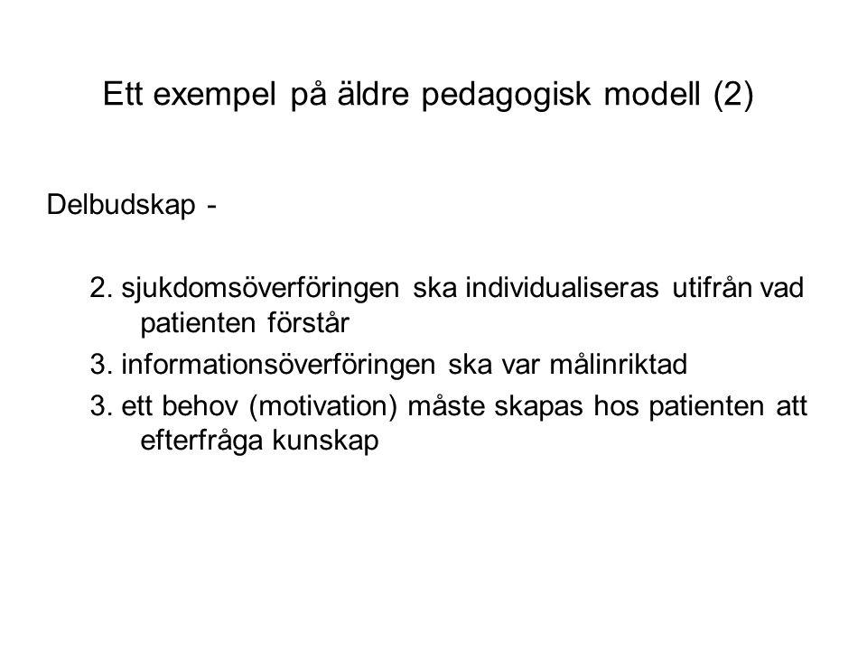 Ett exempel på äldre pedagogisk modell (2) Delbudskap - 2.