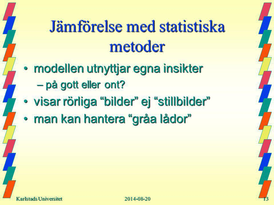Karlstads Universitet Karlstads Universitet2014-08-2013 Jämförelse med statistiska metoder modellen utnyttjar egna insiktermodellen utnyttjar egna insikter –på gott eller ont.
