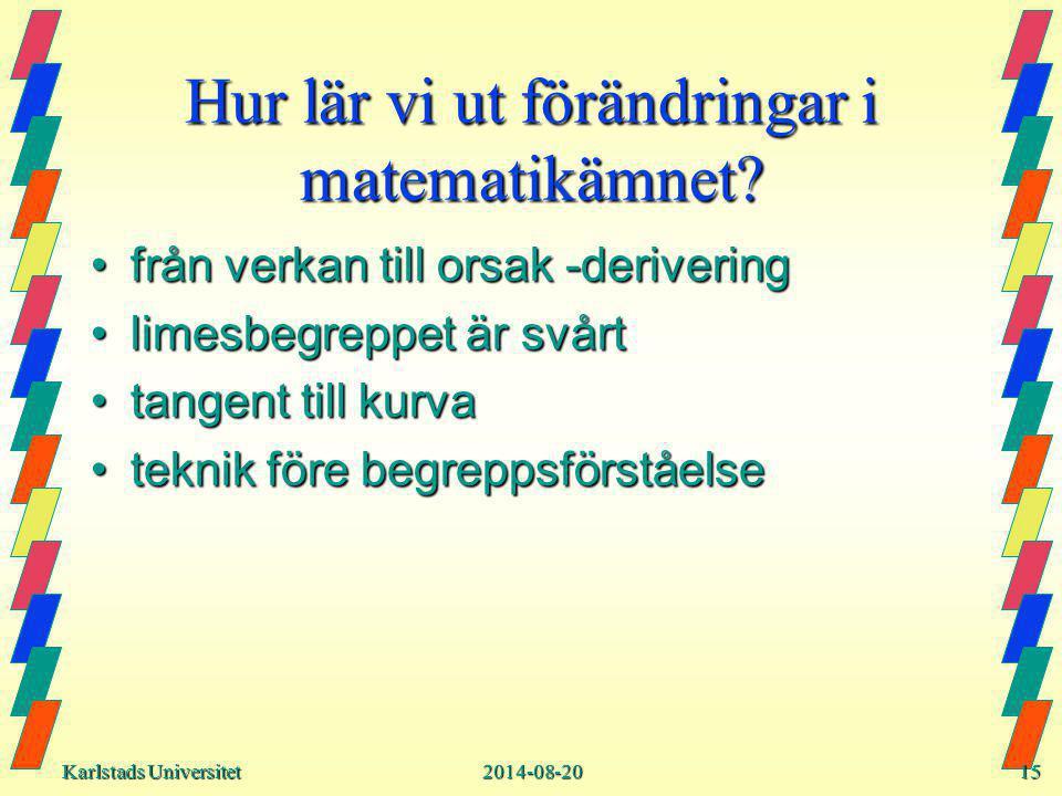 Karlstads Universitet Karlstads Universitet2014-08-2015 Hur lär vi ut förändringar i matematikämnet.