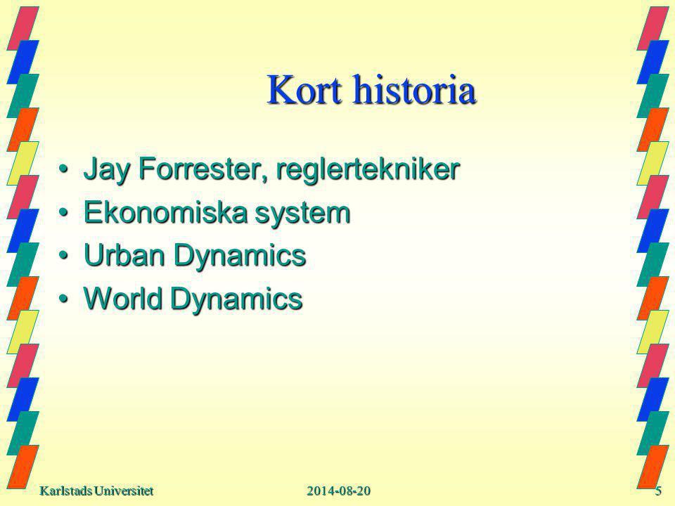 Karlstads Universitet Karlstads Universitet2014-08-205 Kort historia Jay Forrester, reglerteknikerJay Forrester, reglertekniker Ekonomiska systemEkonomiska system Urban DynamicsUrban Dynamics World DynamicsWorld Dynamics