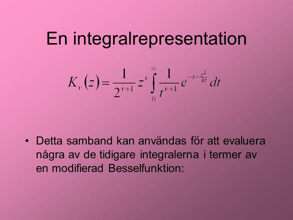 En integralrepresentation Detta samband kan användas för att evaluera några av de tidigare integralerna i termer av en modifierad Besselfunktion: