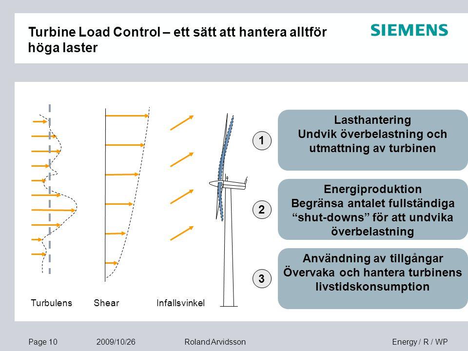 Page 10 2009/10/26 Energy / R / WPRoland Arvidsson Turbulens Lasthantering Undvik överbelastning och utmattning av turbinen Energiproduktion Begränsa antalet fullständiga shut-downs för att undvika överbelastning Användning av tillgångar Övervaka och hantera turbinens livstidskonsumption 1 2 3 ShearInfallsvinkel Turbine Load Control – ett sätt att hantera alltför höga laster