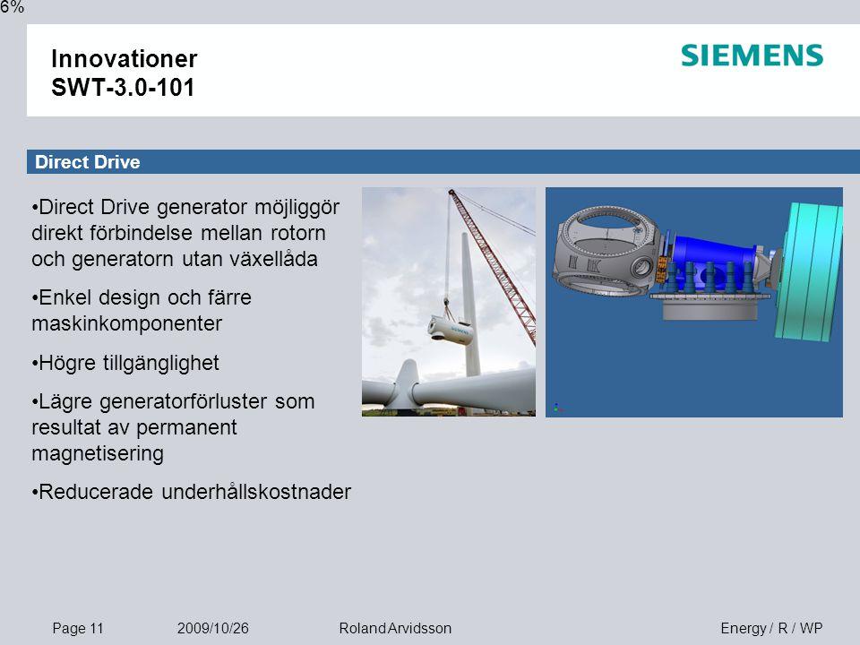 Page 11 2009/10/26 Energy / R / WPRoland Arvidsson Innovationer SWT-3.0-101 16% Direct Drive Direct Drive generator möjliggör direkt förbindelse mellan rotorn och generatorn utan växellåda Enkel design och färre maskinkomponenter Högre tillgänglighet Lägre generatorförluster som resultat av permanent magnetisering Reducerade underhållskostnader