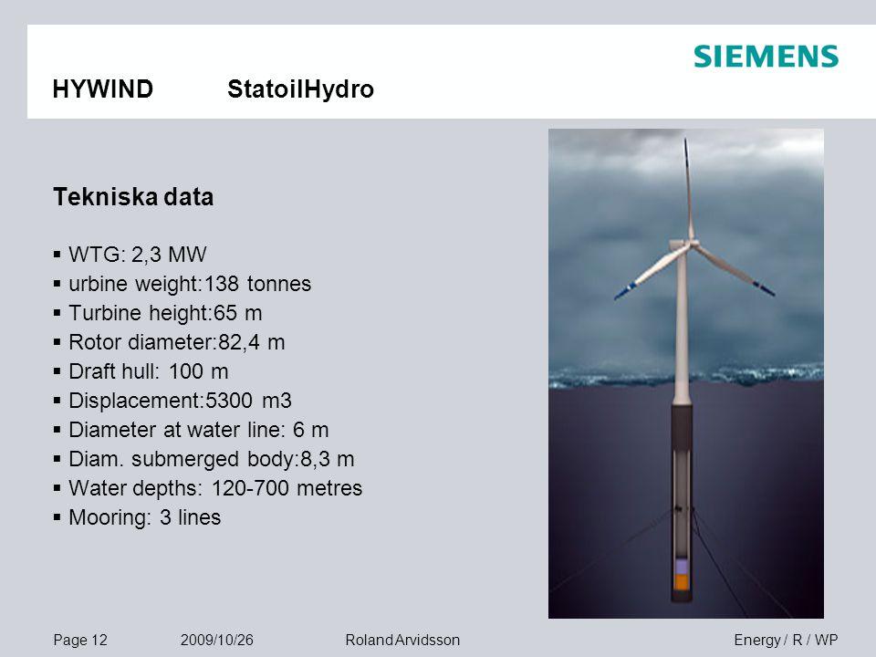Page 12 2009/10/26 Energy / R / WPRoland Arvidsson HYWIND StatoilHydro Tekniska data  WTG: 2,3 MW  urbine weight:138 tonnes  Turbine height:65 m 