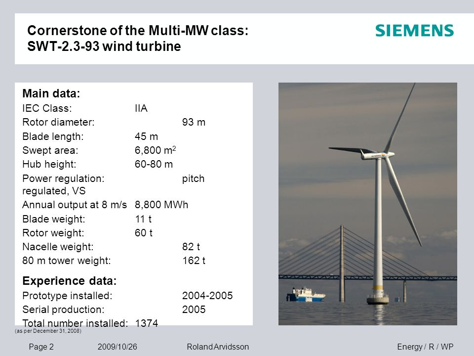 Page 2 2009/10/26 Energy / R / WPRoland Arvidsson Cornerstone of the Multi-MW class: SWT-2.3-93 wind turbine Main data: IEC Class:IIA Rotor diameter:9