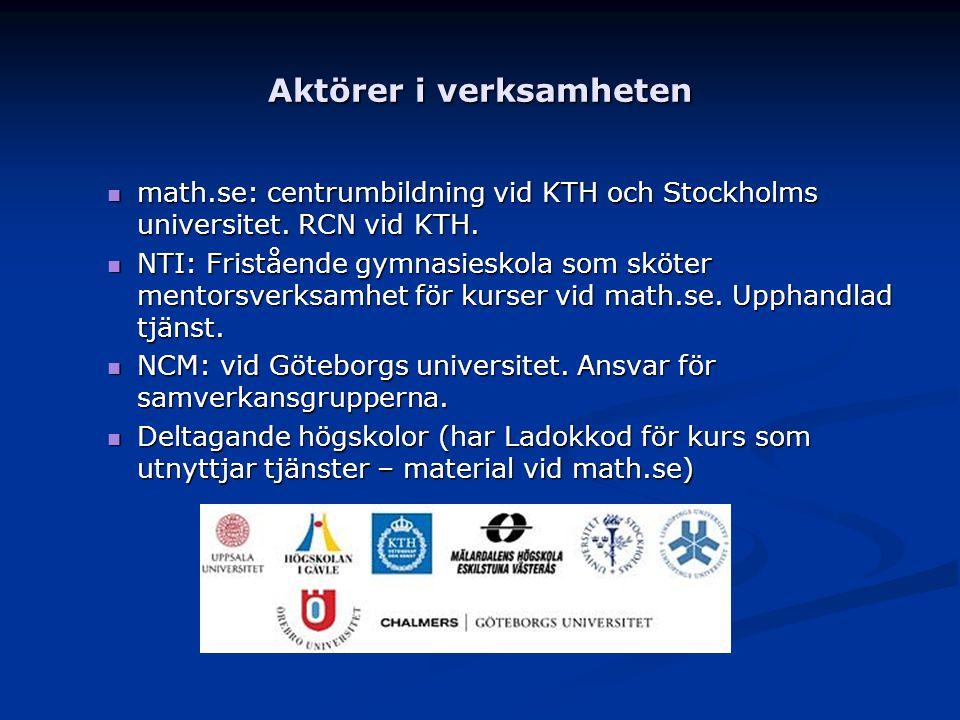 Aktörer i verksamheten math.se: centrumbildning vid KTH och Stockholms universitet. RCN vid KTH. math.se: centrumbildning vid KTH och Stockholms unive