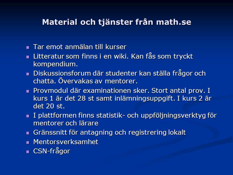 Material och tjänster från math.se Tar emot anmälan till kurser Tar emot anmälan till kurser Litteratur som finns i en wiki. Kan fås som tryckt kompen