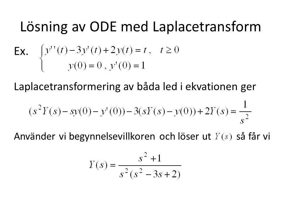 Lösning av ODE med Laplacetransform Ex. Laplacetransformering av båda led i ekvationen ger Använder vi begynnelsevillkoren och löser ut så får vi