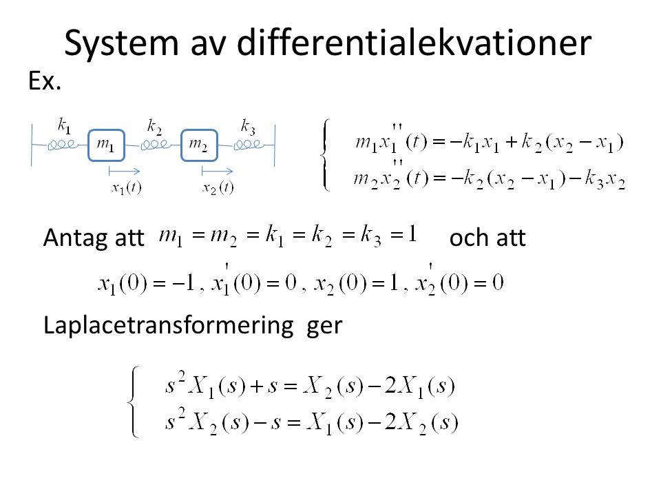 System av differentialekvationer Antag att och att Laplacetransformering ger Ex.