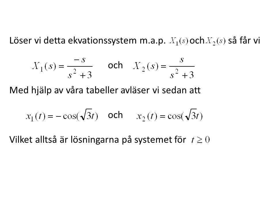 Löser vi detta ekvationssystem m.a.p. och så får vi och Med hjälp av våra tabeller avläser vi sedan att och Vilket alltså är lösningarna på systemet f