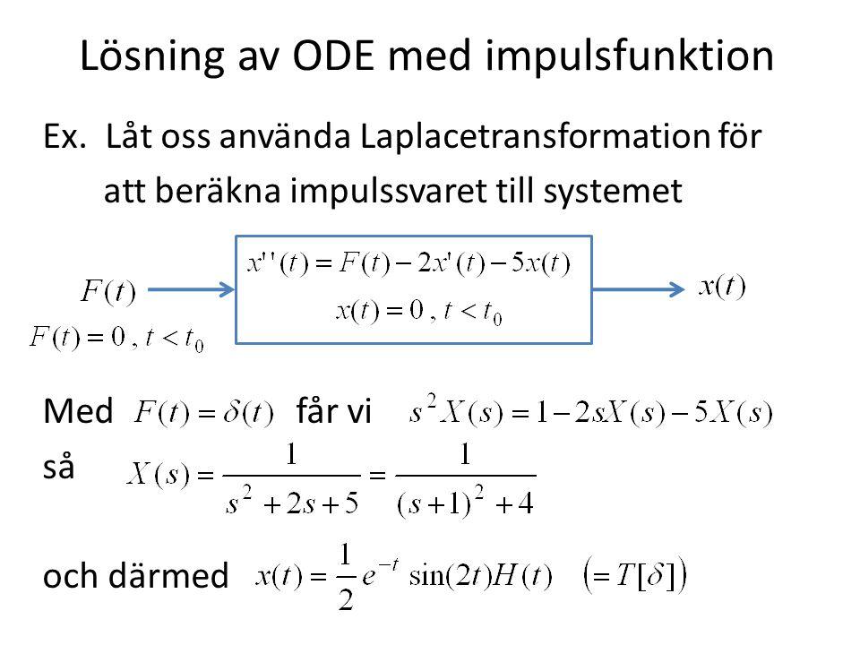 Lösning av ODE med impulsfunktion Ex. Låt oss använda Laplacetransformation för att beräkna impulssvaret till systemet Med får vi så och därmed