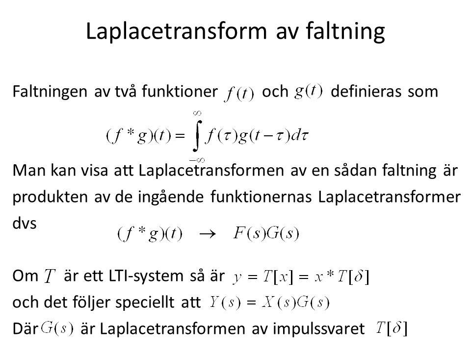 Laplacetransform av faltning Faltningen av två funktioner och definieras som Man kan visa att Laplacetransformen av en sådan faltning är produkten av