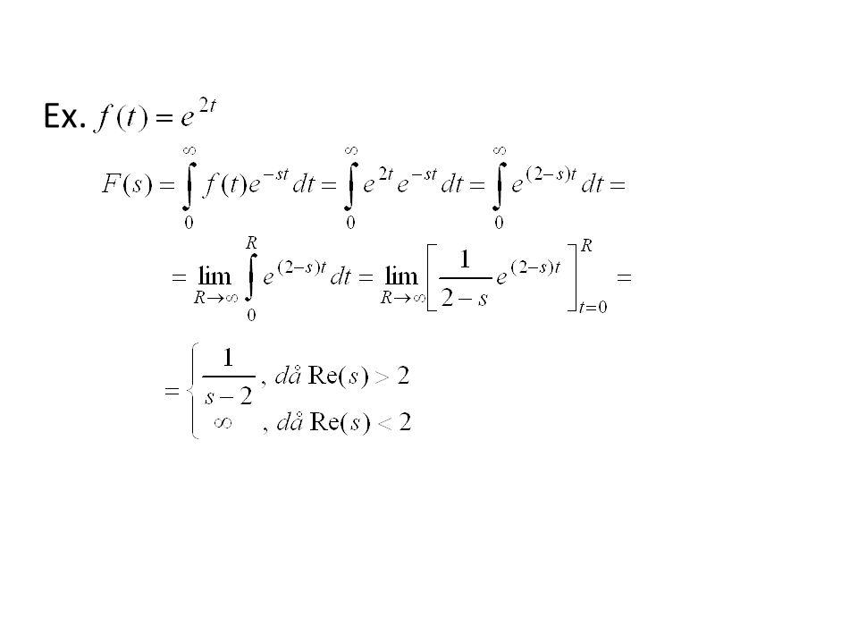 Laplacetransform av impulsfunktion För att ta Laplacetransformen av impulsfunktionen så modifierar vi definitionen så att där betyder att man skall ta gränsvärdet då från vänster (dvs för ) Egenskaperna hos impulsfunktionen ger då att