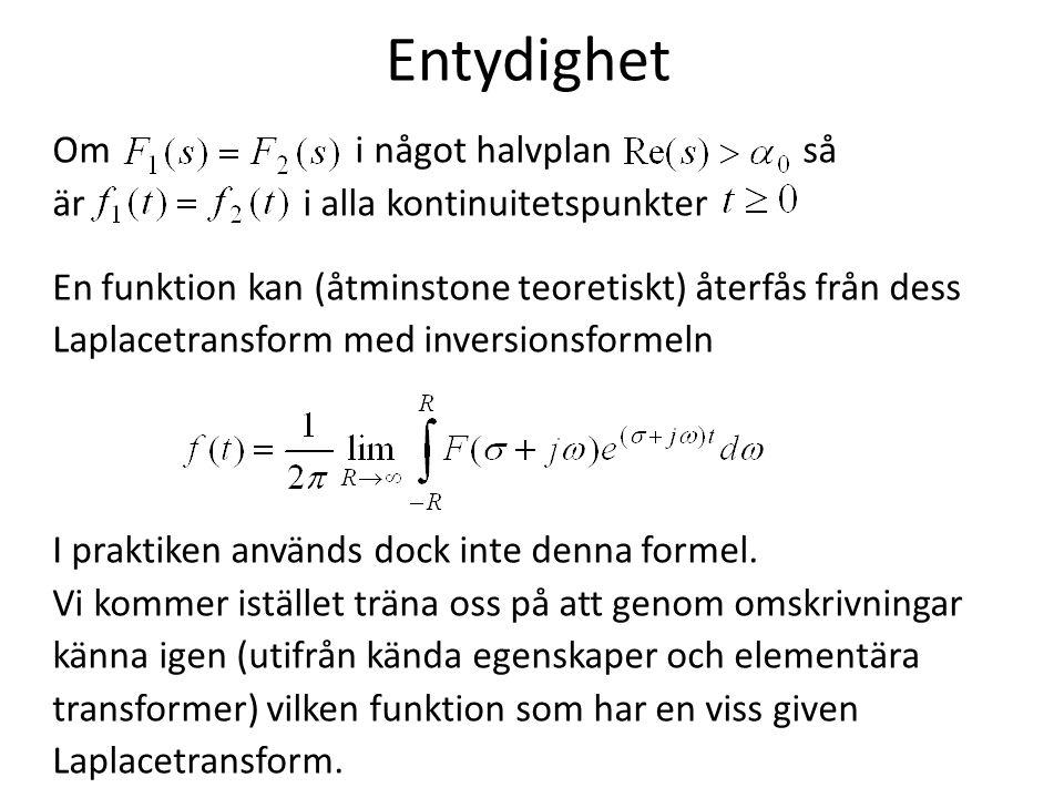 Entydighet Om i något halvplan så är i alla kontinuitetspunkter En funktion kan (åtminstone teoretiskt) återfås från dess Laplacetransform med inversi