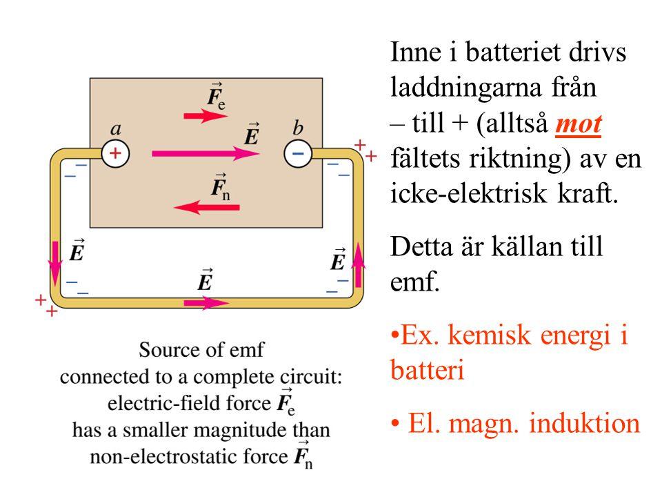 Inne i batteriet drivs laddningarna från – till + (alltså mot fältets riktning) av en icke-elektrisk kraft.