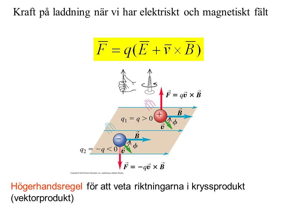 Högerhandsregel för att veta riktningarna i kryssprodukt (vektorprodukt) Kraft på laddning när vi har elektriskt och magnetiskt fält