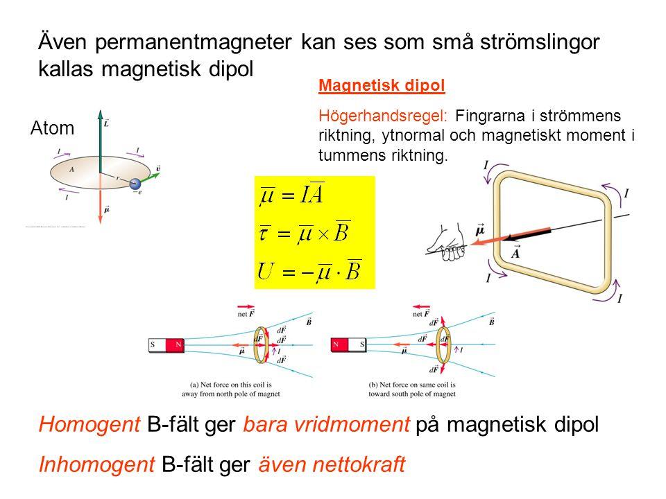 Även permanentmagneter kan ses som små strömslingor kallas magnetisk dipol Magnetisk dipol Högerhandsregel: Fingrarna i strömmens riktning, ytnormal och magnetiskt moment i tummens riktning.