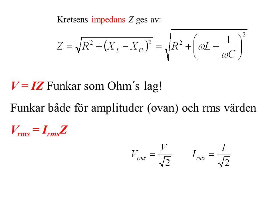 Kretsens impedans Z ges av: V = IZ Funkar som Ohm´s lag.