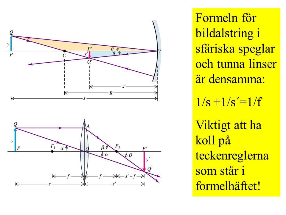 Formeln för bildalstring i sfäriska speglar och tunna linser är densamma: 1/s +1/s´=1/f Viktigt att ha koll på teckenreglerna som står i formelhäftet!