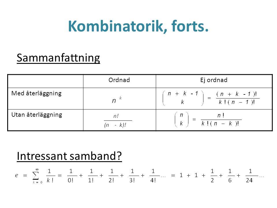 Kombinatorik, forts. Sammanfattning OrdnadEj ordnad Med återläggning Utan återläggning Intressant samband?