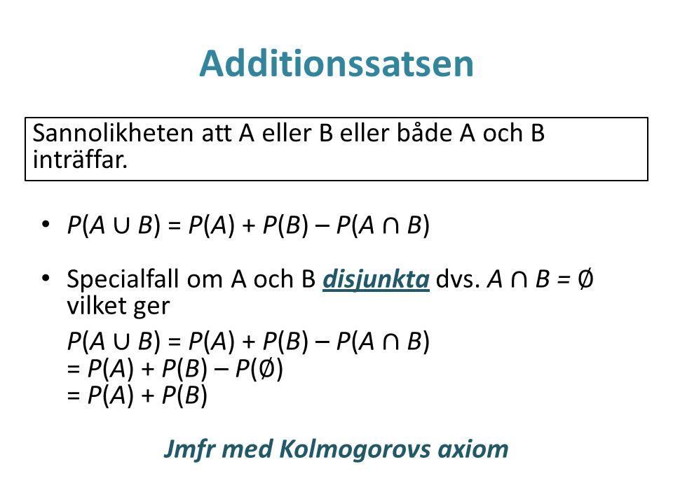 Additionssatsen Sannolikheten att A eller B eller både A och B inträffar. P(A ∪ B) = P(A) + P(B) – P(A ∩ B) Specialfall om A och B disjunkta dvs. A ∩