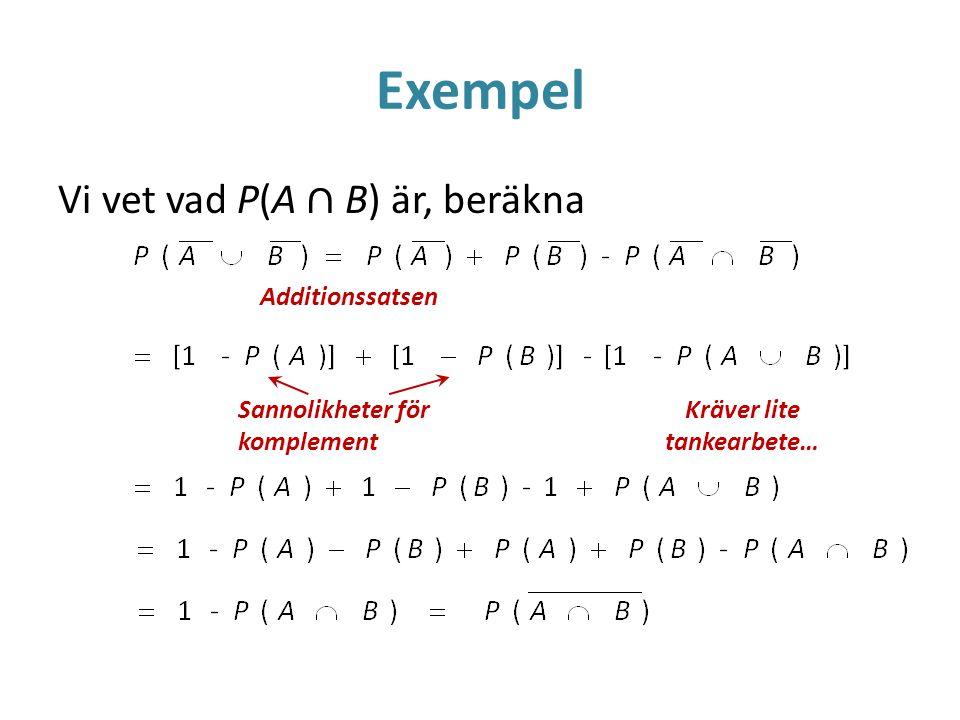 Exempel Vi vet vad P(A ∩ B) är, beräkna Additionssatsen Sannolikheter för komplement Kräver lite tankearbete…