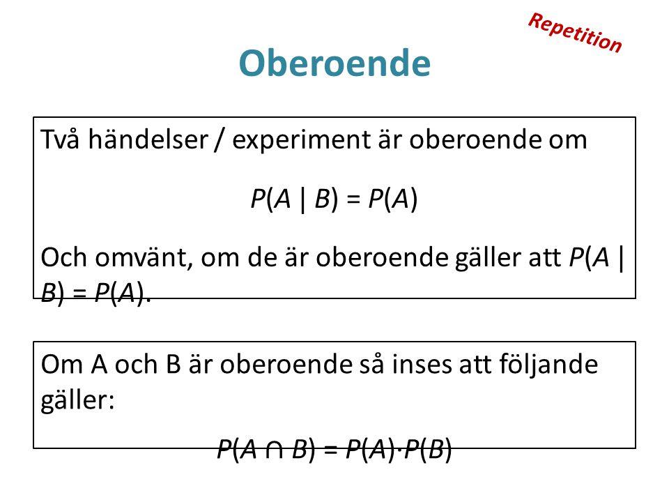 Oberoende Två händelser / experiment är oberoende om P(A | B) = P(A) Och omvänt, om de är oberoende gäller att P(A | B) = P(A). Om A och B är oberoend