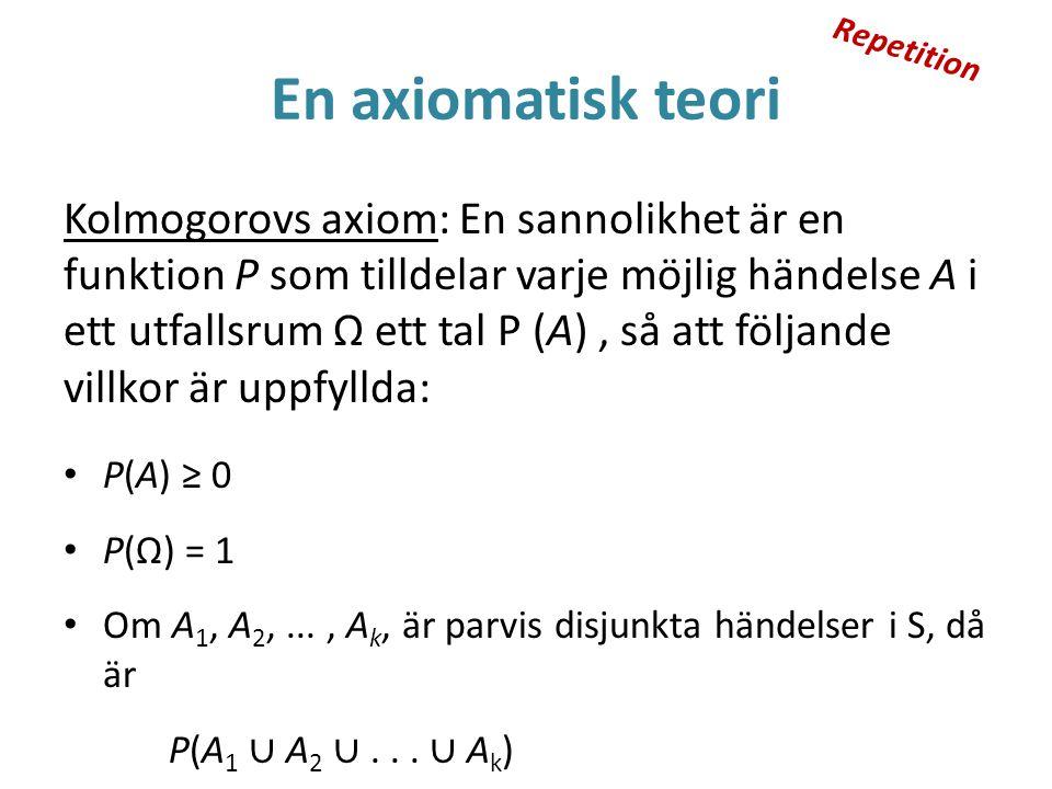 En axiomatisk teori Kolmogorovs axiom: En sannolikhet är en funktion P som tilldelar varje möjlig händelse A i ett utfallsrum Ω ett tal P (A), så att