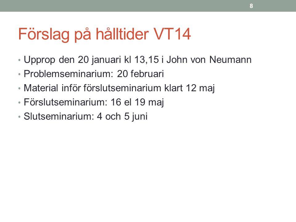 Förslag på hålltider VT14 Upprop den 20 januari kl 13,15 i John von Neumann Problemseminarium: 20 februari Material inför förslutseminarium klart 12 m