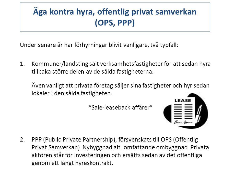 Äga kontra hyra, offentlig privat samverkan (OPS, PPP) Under senare år har förhyrningar blivit vanligare, två typfall: 1.Kommuner/landsting sålt verksamhetsfastigheter för att sedan hyra tillbaka större delen av de sålda fastigheterna.