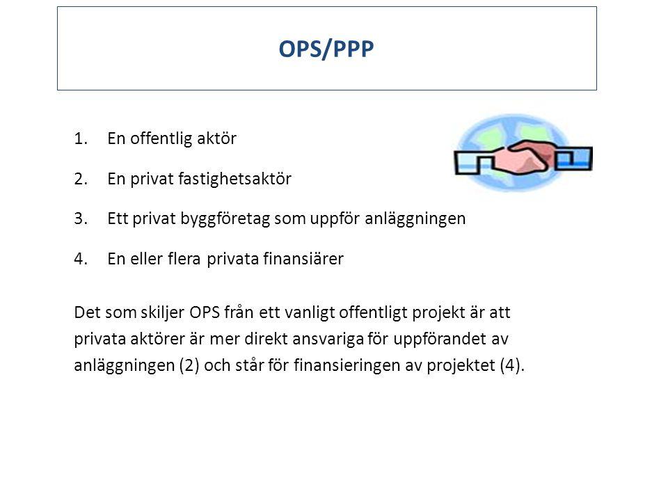 OPS/PPP 1.En offentlig aktör 2.En privat fastighetsaktör 3.Ett privat byggföretag som uppför anläggningen 4.En eller flera privata finansiärer Det som skiljer OPS från ett vanligt offentligt projekt är att privata aktörer är mer direkt ansvariga för uppförandet av anläggningen (2) och står för finansieringen av projektet (4).