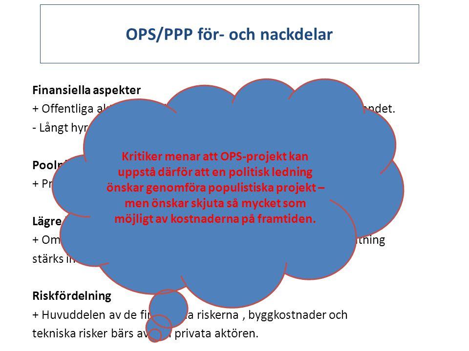 OPS/PPP för- och nackdelar Finansiella aspekter + Offentliga aktören behöver inte investera egna pengar i byggandet. - Långt hyreskontrakt binder offe