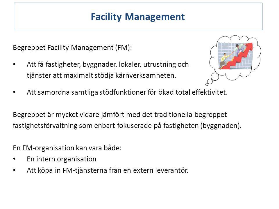 Facility Management Begreppet Facility Management (FM): Att få fastigheter, byggnader, lokaler, utrustning och tjänster att maximalt stödja kärnverksamheten.